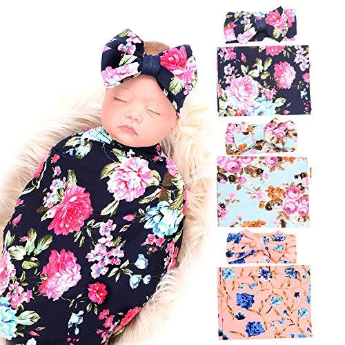 3 Pack Receiving Blanket with Headbands BQUBO Newborn Baby Floral PrintedBaby Shower Swaddle - Vintage Headbands Baby