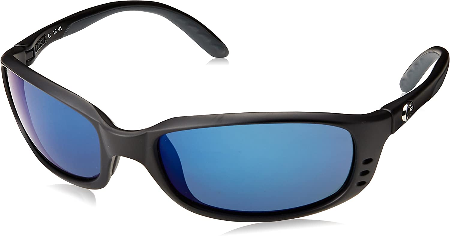 Costa Del Mar Men's Brine Polarized Oval Sunglasses, Matte Black/Grey Blue Mirrored Polarized-580P, 59 mm