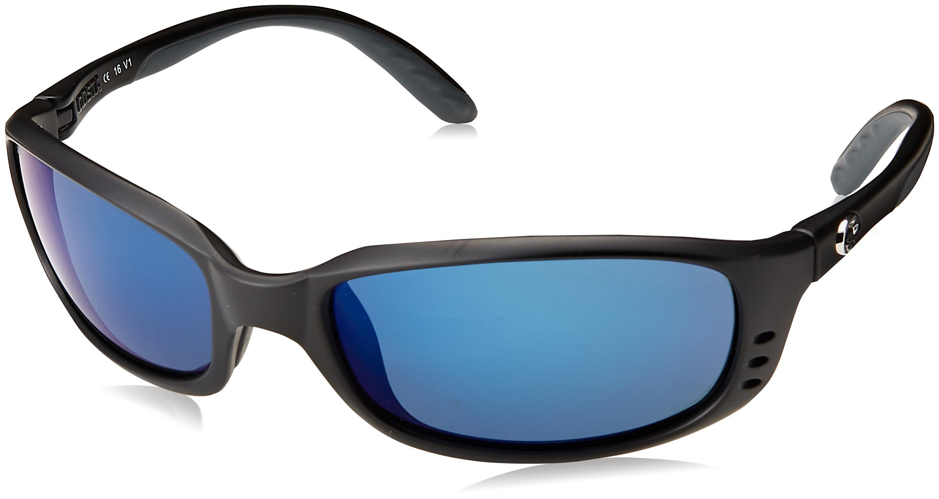 Costa Del Mar Brine Sunglasses BR 11 OBMP Matte Black/Blue Mirror 580Plastic by Costa Del Mar