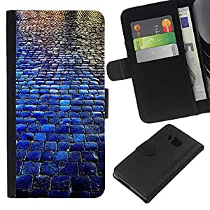 All Phone Most Case / Oferta Especial Cáscara Funda de cuero Monedero Cubierta de proteccion Caso / Wallet Case for HTC One M9 // Cobblestones City Blue Rain Reflection
