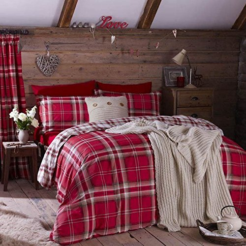 EDINBURGH RED TARTAN PLAID REVERSIBLE COTTON BLEND USA QUEEN SIZE (COMFORTER COVER 230 X 220 - UK KING SIZE) (PLAIN CREAM FITTED SHEET - 152 X 200CM + 25 - UK KING SIZE) PLAIN CREAM HOUSEWIFE PILLOWCASES 6 PIECE BEDDING SET