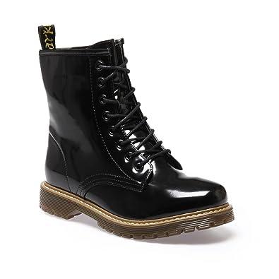 79f3885c42bd1 La Modeuse - Bottines Rangers Femme Vernies  Amazon.fr  Chaussures et Sacs