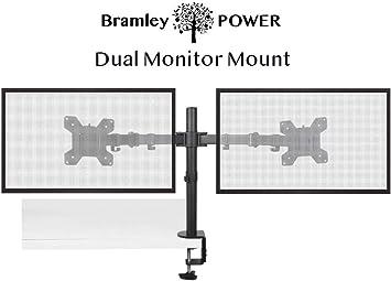 Bramley Power Dual Monitor Pantalla Brazo de Montaje en Escritorio Soporte VESA para Pantalla Doble de 13