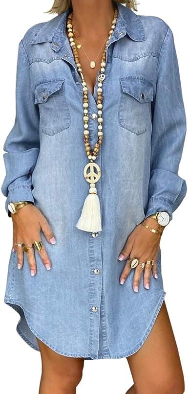 Women Casual Denim Shirt Dresses Top Long Sleeve Button-Down Distressed Jean Dress