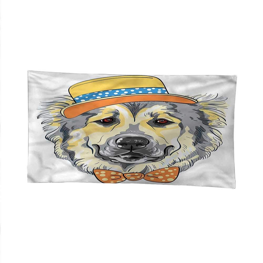 Animalocean tapestrylarge tapestryCartoon Dog in Hat Bow 91W x 60L Inch