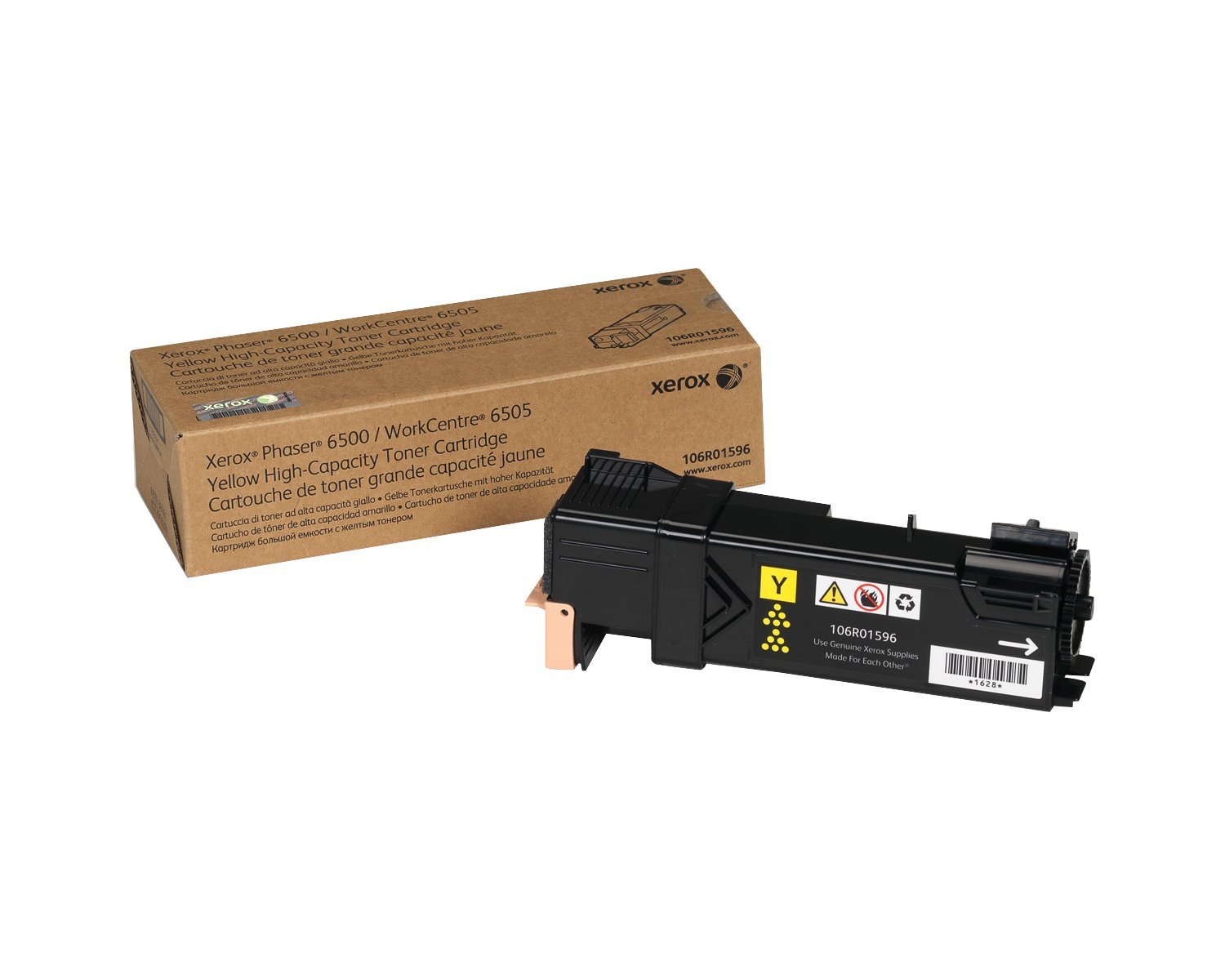 Genuine Xerox Standard Capacity Yellow Toner Cartridge for use with the Xerox WorkCentre 6505/Phaser 6500- Part# 106R01593