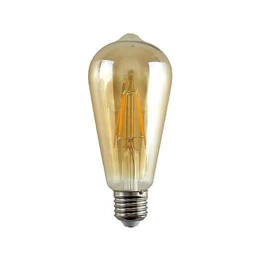 2 x Opus E27 Bombillas Edison Dimmable 5W Filamento LED Blanco Cálido 2200K ST64 Bombilla Oro