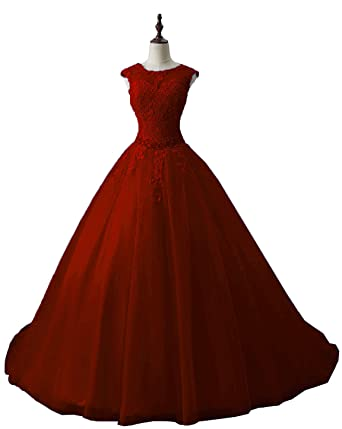 91aa9f1f56b OkayBridal Women s Lace Appliques Quinceanera Dresses Burgundy Ball Gown  Long Evening Prom Dress Beading Size 2