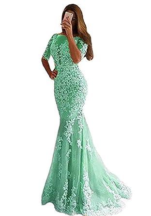d6a975a0df8 SDRESS Women s Lace Applique Mermaid Evening Gowns Half Sleeve Open Back Prom  Dresses Long Aqua Size