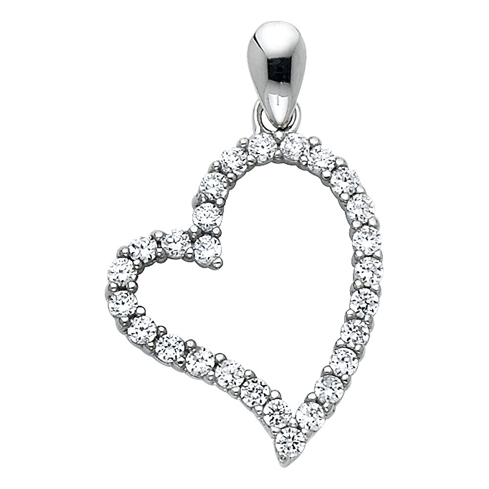 14k White Gold Open Heart CZ Pendant Charm