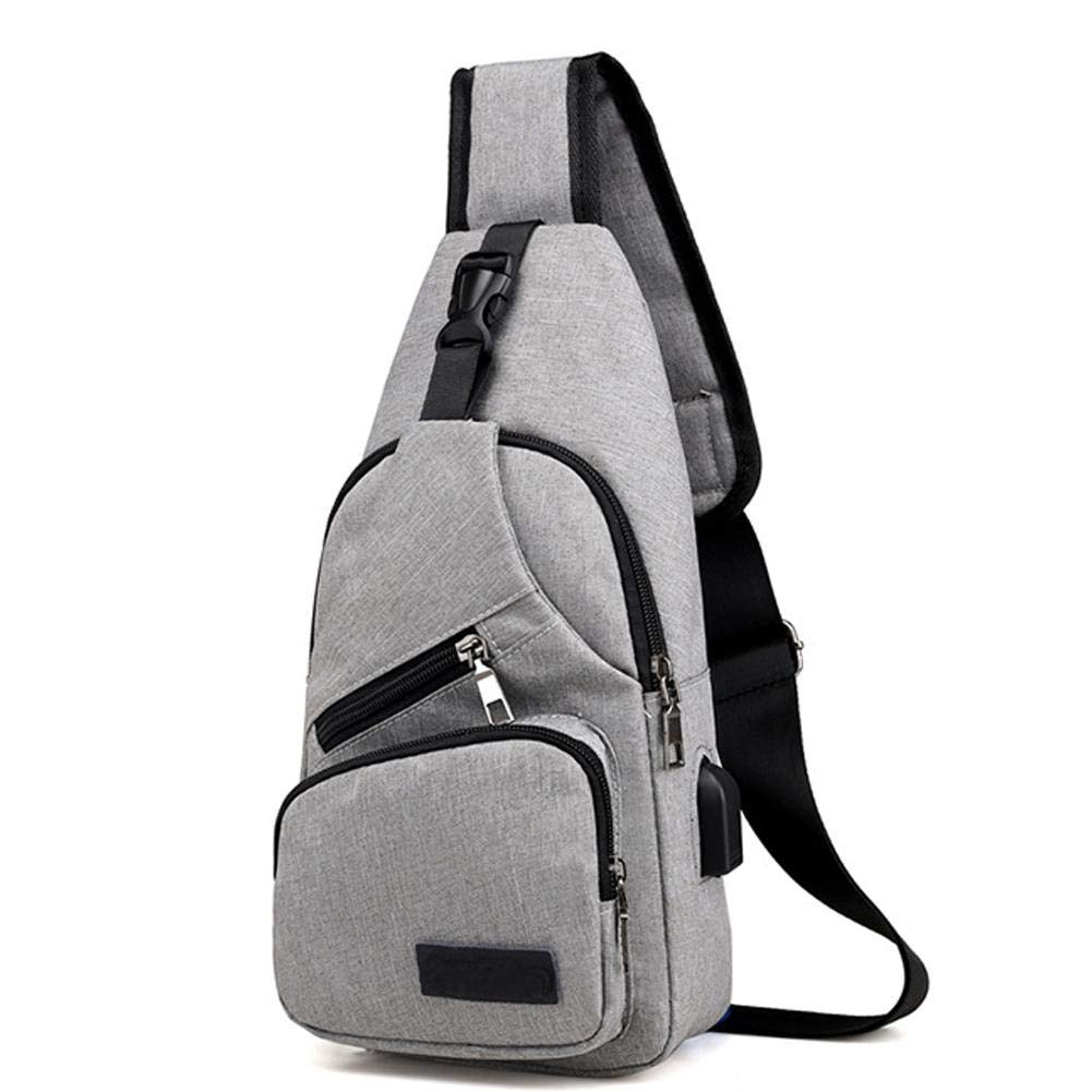 Crossbody Bag Shoulder Bag Oxford Cloth UBS Charging Chest Bag Fashionable Canvas Messenger Bag Sling Bag Beauti-Chen