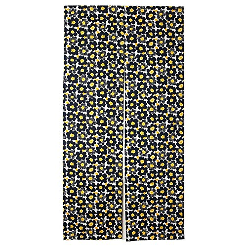 Northern European Style Navy Blue Flowered Cotton Cloth Made in Japan Noren Curtain Tapestry Handmade by Japanese Craftsman Navy Blue 33.46X66.92 Inch (Navy Blue Flowered)
