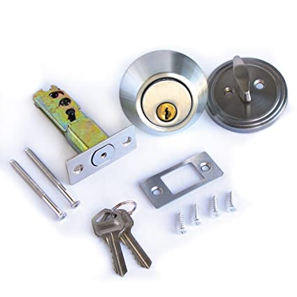 Single Cylinder Deadbolt Lock Security Home Entry Handle Door Lock Set w/ Keys Stainless Color