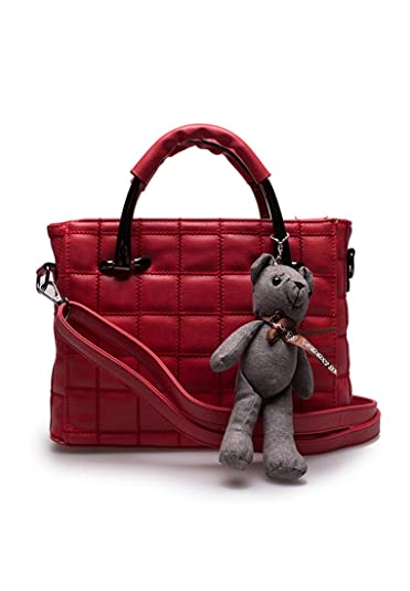 Women Leather Handbag Shoulder Bag Amiya (Red)  Handbags  Amazon.com 9a52ce30ec