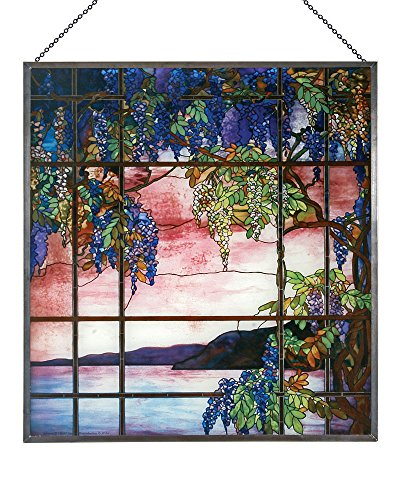 Louis Comfort Tiffany: View of Oyster Bay Glass Panel (Panel Tiffany Window)