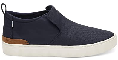 22a1b547d34869 TOMS Mens Paxton Water-Resistant Slip-On Navy Textural Canvas/Nylon 7 D