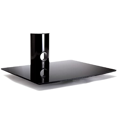 Duronic DS101BB – Soporte de pared con estante para Reproductores / DVD / PS4 / Xbox / Descodificador / Blu-Ray / TV / Consolas – Cristal Templado 1 Estante