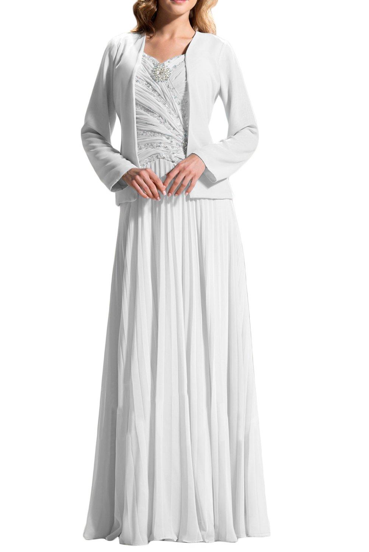 (ウィーン ブライド)Vienna Bride 披露宴用母親ドレス ロングドレス 結婚式母親用ドレス 新婦の母ドレス 長袖 ベスト付き Aライン 肩紐 スパンコール ひだ カラードレス ブルー レッド シャンパン 優雅 B07CM867M6 23W|ホワイト ホワイト 23W
