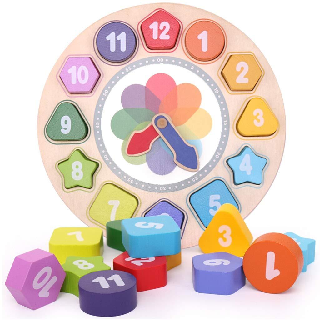 Zhijie-wanju Hölzerne Form, die Uhr-Spielzeug mit Zahl und Sortiert Form-Lernspiel für Kinder Sortiert und 93329d