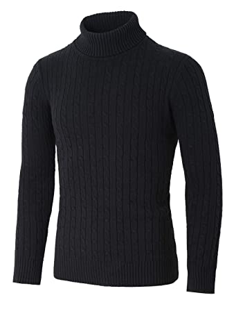 Uxcell Men Turtleneck Long Sleeves Pullover Cable Knitted Sweater At
