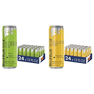 Red Bull Energy Drink, Kiwi Apple, 12 Fl Oz (24 Count), Green Edition & Energy Drink, Tropical, Yellow Edition, 12 Fl Oz (24 Count)
