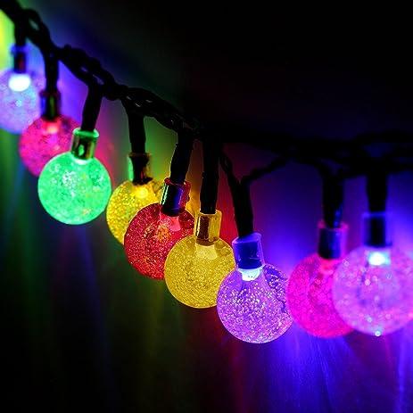 #1 Solar Outdoor String Lights, E TRENDS 0.79u0026quot; Diameter Crystal Ball  String