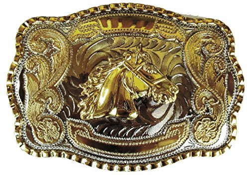 [Horse Head Gold Silver Huge Rodeo Big Cowboy Western Shine Belt Buckle] (Big Cowboy Belt)
