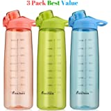 Bonison Wide Mouth Sports Water Bottle Flip Top Lid With Handle, Leak Proof, Bpa Free, Various Capacity. Perfect for Travel Yoga Running Outdoor Cycling Hiking Or Camping