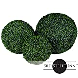 "3rd Street Inn Boxwood Topiary Ball Assortment - 19"", 15"", 11"" Artificial Topiary Plants - Wedding Decor - Indoor/Outdoor Artificial Plant Balls - Topiary Tree Substitute"