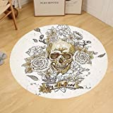 Gzhihine Custom round floor mat Skulls Decorations Collection Skull with Roses Day of The Dead Sign Horror Mexican Traditional Art Bedroom Living Room Dorm Vanilla White Ivory