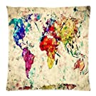Home Decor Personalized Retro Art Print Colorful World Map Zippered Throw Pillow Cover Cushion Case 20x20 (two sides)
