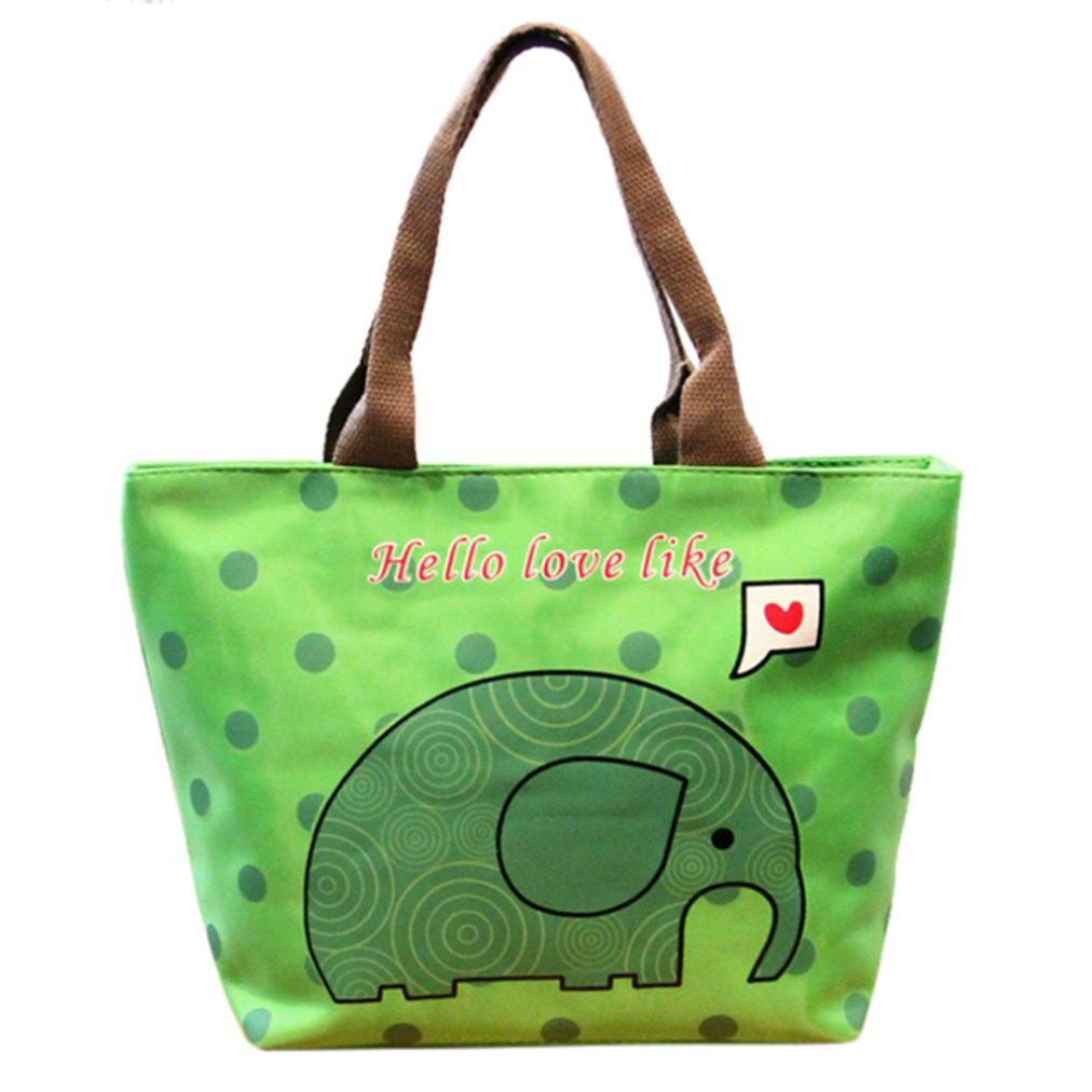 Weite Thermal Insulated Nylon Lunch Bag, 7 Colors Cute Elephant Pattern Lunch Tote Organizer Zippered Bag, Large Capacity Lunch Box Foldable Lunch Tote Cooler for Women and Girls Adults (Green)