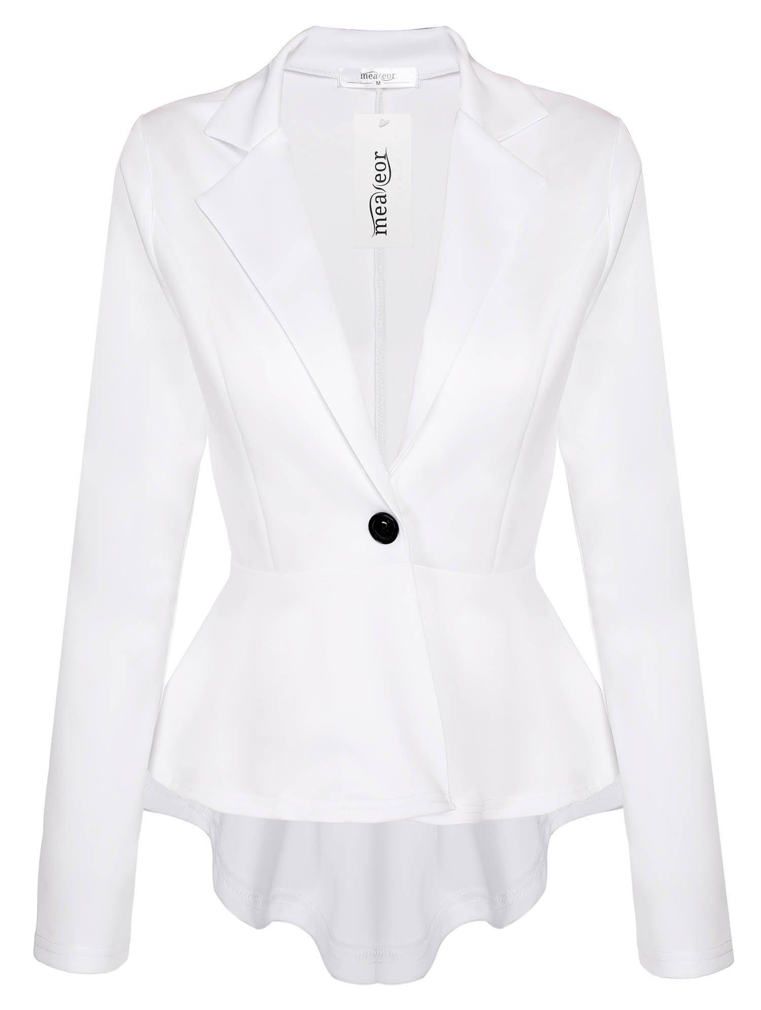 Meaneor Women's Crop Frill Shift Slim Fit Peplum Blazer Jacket Plus Size Coat White XL by Meaneor (Image #1)