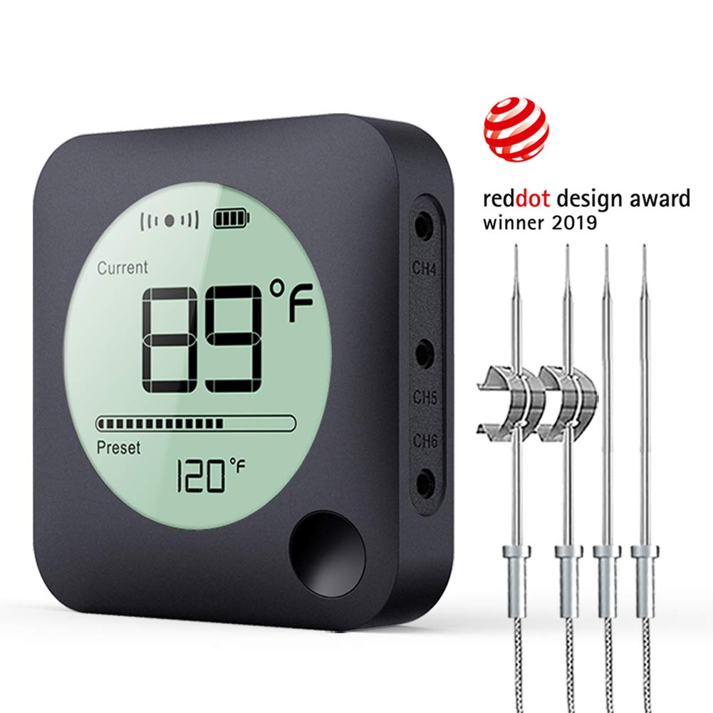 Wireless Grill Thermometer, Bluetooth Meat Thermometer, Digital BBQ Meat Thermometer for Grilling Smoker Oven Kitchen Food Cooking, Smart APP Alarm Monitor Instant Read with 4 Stainless Steel Probes by Bfour