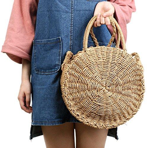 and Weave Crossbody Bag Handbags Bag Round Purse Khaki Women Summer Beach Shoulder Straw qFwvdtt4