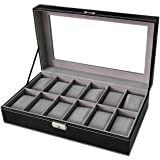 Sodynee WBPU12-03 Watch Dislpay Box Organizer, Pu Leather with Glass Top, Large, Black