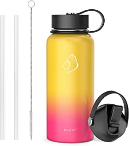 BUZIO Insulted Water Bottle with Straw Lid and Flex Cap, 32oz, 40oz, 64oz, 87oz Modern Double Vacuum Stainless Steel Water Flask, Cold for 48 Hrs Hot for 24 Hrs Simple Thermo Canteen Mug,BPA-Free