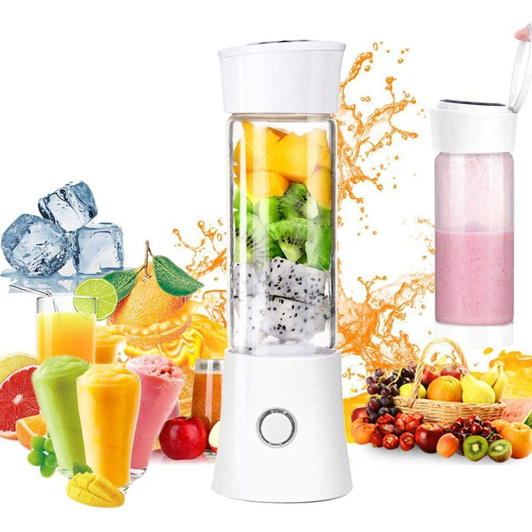 Ouyilu Portable Blender, USB Rechargeable Personal Smoothie Blender Mini Juicer Cup Fruit Juice Mixer Small Travel Blender for Shakes and Smoothies with Stainless Steel 6-Blades, FDA BPA Free
