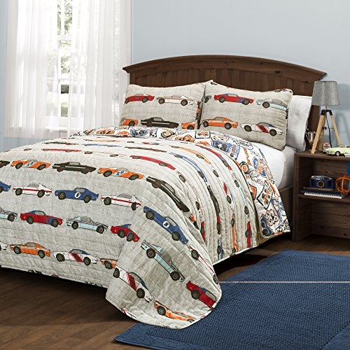Lush Decor Race Cars 3 Piece Reversible Quilt Bedding Set, Full/Queen, Blue and Orange (Transportation Kids Bedding)