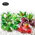 JUSTOYOU 18Pcs Fake Succulent Plants Artificial Unpotted Faux Succulent Outdoor Home Décor Floral Arrangement
