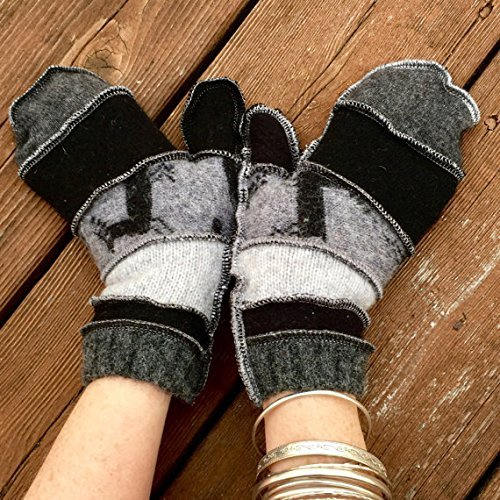 Shades Of Gray Reindeer Fun Warm Felted Wool Mittens