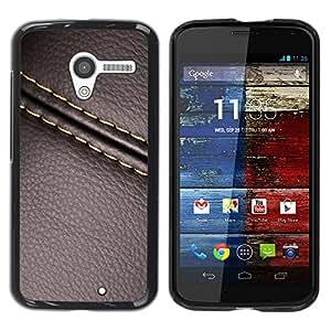 [Neutron-Star] Snap-on Series Teléfono Carcasa Funda Case Caso para Motorola Moto X 1 1st GEN I [Cuero de la puntada de la textura de Brown]