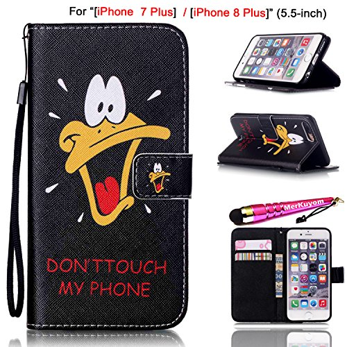 iPhone 8 Plus Case, iPhone 7 Plus Cover [Wrist Strap], MerKuyom [Kickstand] PU Leather Wallet Pouch Flip Case For Apple iPhone 7 Plus / iPhone 8 Plus, W/ Stylus (Roar Duck DON'T TOUCH MY (Touch Rainbow Zebra)