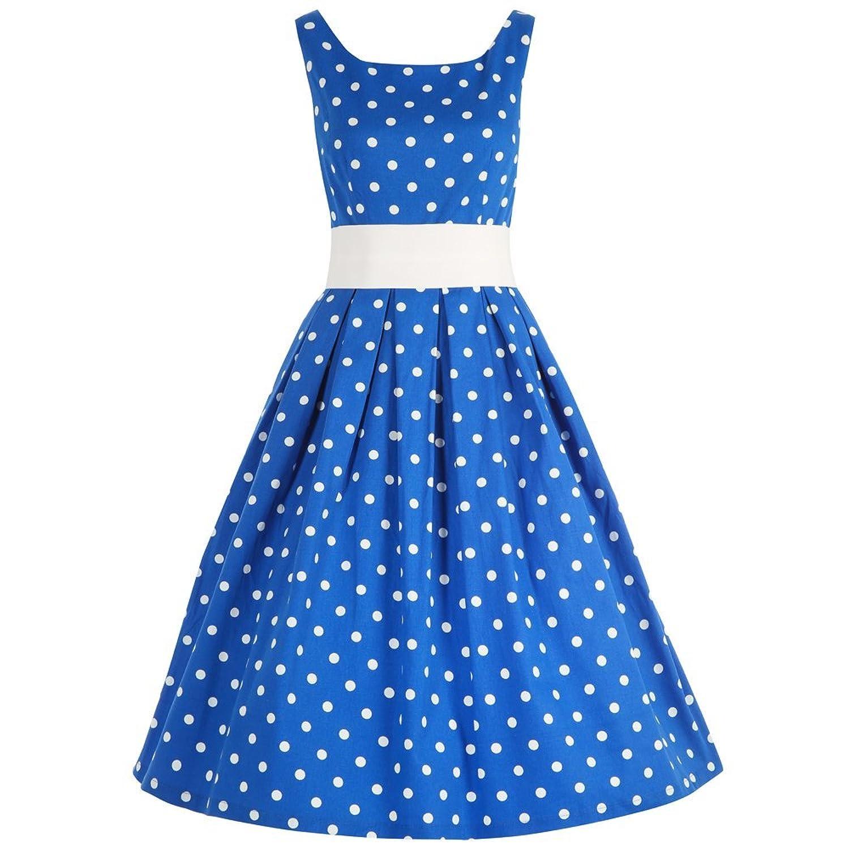 Lindy Bop 'Lana' Blue White Polka Party Dress