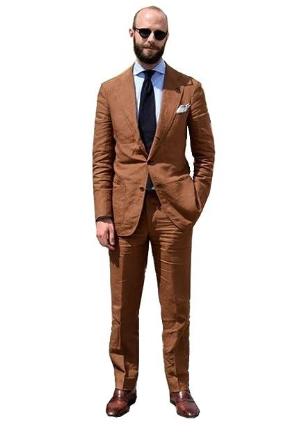 High-End Suits Traje para Hombre de 2 Piezas Bridegroom de Color café y Lino 193a88a9f1a