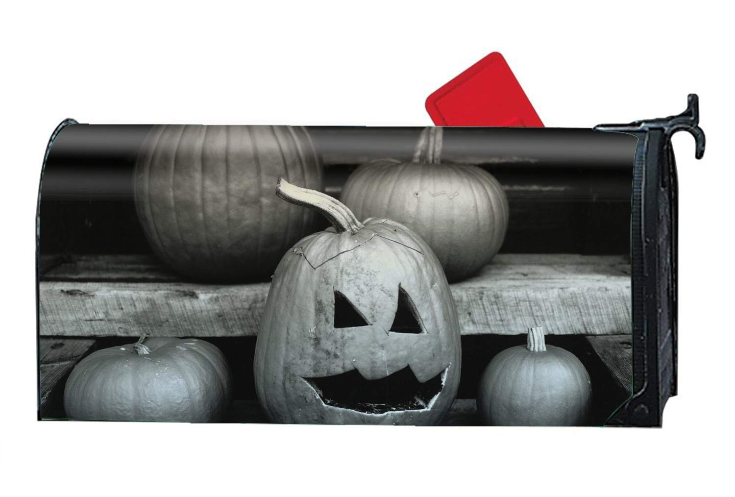 Holiday Halloween Carven Pumpkin Lamp Magnetic Mailbox Cover Home Garden Cute Mailbox Wraps with Full-Surface Magnet on Back