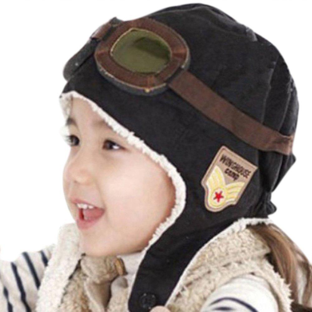 Lucky Will Baby Kids suave de invierno gorro de calentador Cool Pilot Aviator Gorra de gorro de lana con orejeras negro