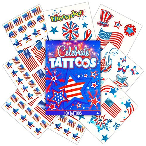 Patriotic American Flag Temporary Tattoos and Stickers Set (Over 50 USA Tattoos and 100 Stickers, 4th of July Party (Usa Tattoos)