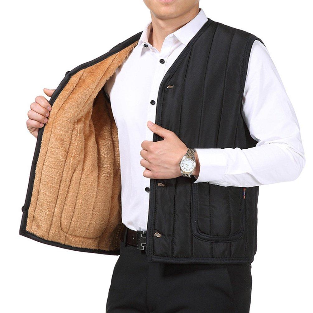 Yuncai Inverno Caldo Medioevo Uomo Cappotto Gilet Morbido Accogliente Cotone Senza Maniche Giacche per Pap/à