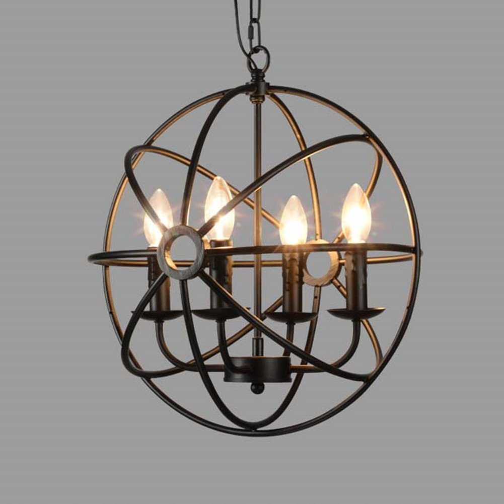 Industrial Ceiling Light, SUN RUN Creative Retro 4 Head Light Fixture Chandeliers Vintage Metal Pendant Lamp with Painted Finish for Dining Room Kitchen